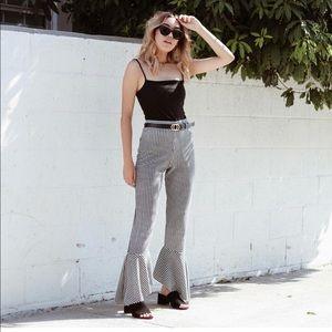 Pants - Gingham Flare Pants